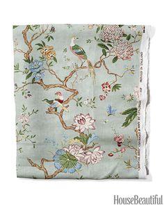 "gp&j baker ""oriental bird"" Chinoiserie Fabric, Chinoiserie Wallpaper, Chinoiserie Chic, Fabric Wallpaper, Fabric Birds, Floral Fabric, Fabric Roses, Chintz Fabric, Textiles"