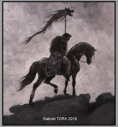 Dacian rider with dracones, dacian wolf flag. Knife Art, Equine Art, Draco, Gabriel, Roots, Wolf, Flag, Photo And Video, Painting