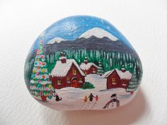 Christmas village - Large hand painted beach pebble paperweight ornament