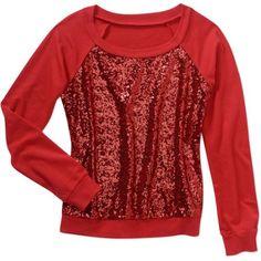 No Boundaries Juniors Sequin Front Sweatshirt, Size: 2XL, Red