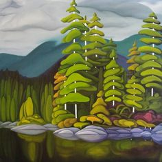 The Georgia Strait BC by Oil on Canvas Landscape Quilts, Landscape Art, Landscape Paintings, Landscapes, Canadian Painters, Canadian Artists, Naive Art, Aboriginal Art, Tree Art