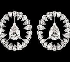 Stunning diamond celestial #earrings #whitegold by Nirav Modi.