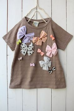 リボンリボンTシャツ/チャコール(11) - 100% picnic.