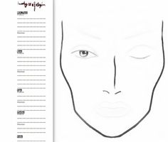 face chart to show make-up design on lid  plus lighter lip and eyebrows to draw in desired line design