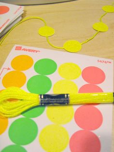 neon embroidery floss+dot label=garland