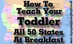 This little girl knows more states than I do. :) But I like the idea and think it would work with letters, numbers, colors, sight words, etc! Toddler Learning, Toddler Fun, Toddler Activities, Teaching Kids, Kids Learning, Teaching Geography, Learning Time, Toddler Stuff, Learning Tools