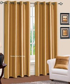 """LuxuryDiscounts 2 Piece Solid Gold FAUX SILK BLACKOUT Thermal Grommet Window Panel Curtain Drapes with Foam Backing - 38""""W x 84""""L Luxury Discounts http://www.amazon.com/dp/B00R0DTRXQ/ref=cm_sw_r_pi_dp_.K4Xub1MWX0FW"""