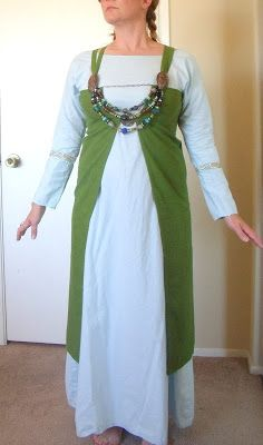 """Adventures in Viking Garb; Front opening dress with no front cloth.  Very similar to the """"Unnr-wrap""""."""