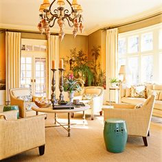 Imagine having a sunroom like this. It's all gorgeous. Charles Faudree.