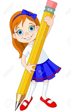 Buy Girl holding pencil by Dazdraperma on GraphicRiver. Illustration of Little Girl and Giant Pencil Cartoon Girl Drawing, Girl Cartoon, Cartoon Drawings, Pencil Clipart, Drawing Clipart, Art Clipart, Teachers Day Drawing, Leprechaun Girl, Giant Pencil