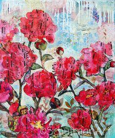 pink peony art | Fine ART print |  mixed media collage art |  floral print | light blue on Etsy, $24.00