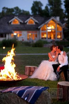 This is the moment about which I dream. Bride and Groom relaxing by the fire with a few friends and a blanket, wearing my dress but with a hoody too coz the sun is setting. Then we watch the stars come out as husband and wife.