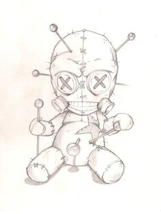 Voodoo Doll 2 by joebananaz  buttons pins star thimbles sewn  stitched Tattoo Flash Art ~A.R.