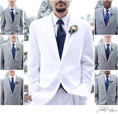 Each groomsmen in his tuxedo with the groom in white. ©Shine with Jennifer Leigh