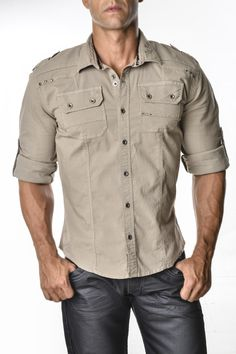 camisa-manga-tres-cuartos-para-hombre-for-men- three-quarter-sleeves Sexy, yet Casual Mens Fashion #sexy #men #mens #fashion #neutral #casual #male #males  200184 (1) New Shirt Design, Shirt Designs, Indian Men Fashion, Male Fashion, Casual Shirts For Men, Men Casual, Cargo Shirts, Mens Kurta Designs, Abercrombie Men