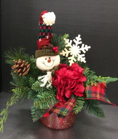 Original Christmas Holiday Arrangement Snowman In Country Pot 2016 By Andrea