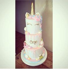 Triple unicorn cake