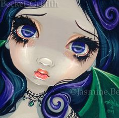 Faces of Faery 45 bat vampire goth big eye fairy face art print by Jasmine Becket-Griffith 6x6