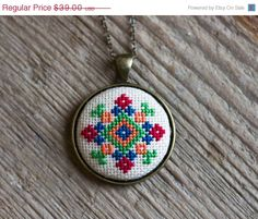 Cross stitch Ethnic necklace Ukrainian folk embroidery by skrynka
