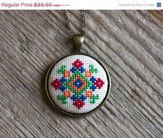Cross stitch Ethnic necklace Ukrainian folk embroidery by skrynka, $31.20