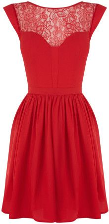 Oasis Abbey Lace Chiffon Skater Dres - Lyst