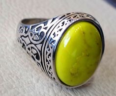 mohave yellow turquoise natural stone semi by AbuMariamJewels