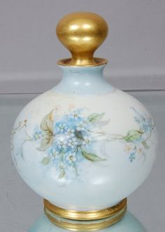 Forget-me-nots ,State Flower Of Alaska. on Limoges Hand painted perfume bottle