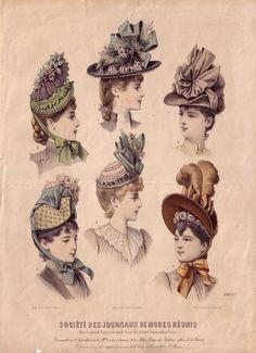 Victorian fashion print for bonnet styles. Victorian Era Fashion, 1870s Fashion, Victorian Hats, Victorian Costume, Victorian Design, Victorian Women, Retro Mode, 19th Century Fashion, Womens Fashion Stores