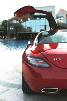 Poolside with the Mercedes-Benz SLS AMG.