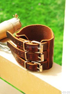 Cool Bracelet Brown Real Leather Bracelet Cuff 3 by sevenvsxiao, $15.00