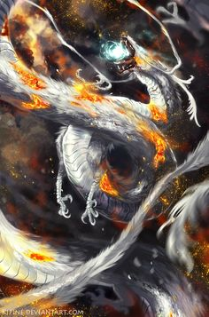 Firey White Dragon by Kipine on DeviantArt Magical Creatures, Fantasy Creatures, Guerrero Dragon, Angel Demon, Cool Dragons, Dragons Den, Dragon Artwork, Dragon's Lair, Dragon Pictures
