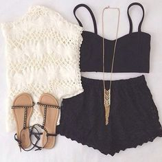 Daily New Fashion : Cute Summer Outfits Party Outfit For Teen Girls, Cute Summer Outfits, Outfits For Teens, Casual Outfits, Cute Outfits, Dress Casual, Casual Shorts, Black Outfits, Casual Clothes