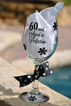 Anyone turning 60 This year? You can create any saying with these monogrammed glasses Birthday Wine Glasses, Diy Wine Glasses, Glitter Glasses, Decorated Wine Glasses, Hand Painted Wine Glasses, Wine Craft, Wine Bottle Crafts, Vinyl Glasses, Monogrammed Glasses