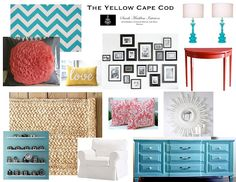 Turquoise - Coral  The Yellow Cape Cod: How To Decorate A Grown-Up Space With Bright Colors