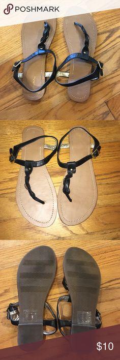 Braid t-strap sandals Black Merona t-strap braid sandals. Worn a few times still in good condition. No trades Merona Shoes Sandals