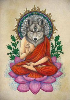 Trippy Psychedelic Spiritual Illustration | Buddhism | Wolf Spirit Animal | Buddha Art