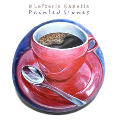 A Custom Order Red Cup of Coffee Painting on Stone of 9.5 cm ( 3.7 in ). Stone Painting by Lefteris Kanetis!
