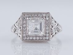Antique Engagement Ring Art Deco Era 1.14ct Asscher Cut Diamond In Platinum by FiligreeJewelers on Etsy https://www.etsy.com/listing/184721530/antique-engagement-ring-art-deco-era