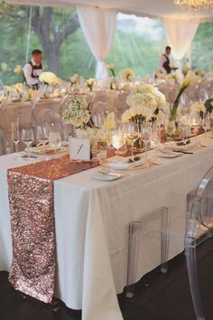 Blush Rose Gold Sequin Table Runner by CandyCrushEvents on Etsy https://www.etsy.com/listing/234024672/blush-rose-gold-sequin-table-runner