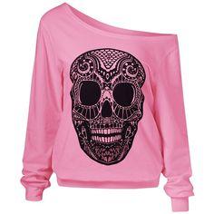 3D Skulls Print Skew Collar Sweatshirt ($13) ❤ liked on Polyvore featuring tops, hoodies, sweatshirts, sweaters, long sleeves, jumper, shirts, long sleeve sweatshirt, pink shirts and pink top