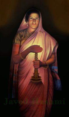 Reproduction Painting Of Raja Ravi Varma - Lady With The Lamp