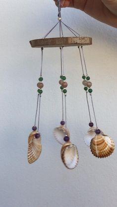 Seashell Projects, Driftwood Crafts, Seashell Crafts, Beach Crafts, Diy Home Crafts, Diy Crafts Videos, Seashell Wind Chimes, Diy Wind Chimes, Wooden Wind Chimes