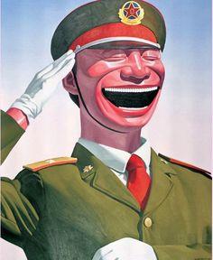 중국 현대미술을 대표하는 작가, Yue Minjun의 작품 중 하나이다. 그의 작품은 하나같이 이렇게 환하게 웃고있다. 그 중 이 작품은 웃느라 눈이 보이지 않는 작품이다. 냉소적 현실주의를 표방하며 웃는 모습을 그린 웨민진의 의도가 물론 있었겠지만, 이 그림을 보는 순간 나는 이 군인이 참 불쌍해보였다.  경례를 하며 웃고 있지만 어딘가 어색해보이는 웃음. 게다가 앞을 보지 못하고 눈을 질끈 감을 정도로 웃고, 또 그래야만 했던 날들. 대항할 수 없는 커다란 무언가에 저항은 못하고 그저 눈만을 감아버리는 상황. 나에게는 이 군인의 처지가 너무나도 안타깝게 다가왔다. 이 군인은 눈을 감으며 어떤 생각을 한 것일까.