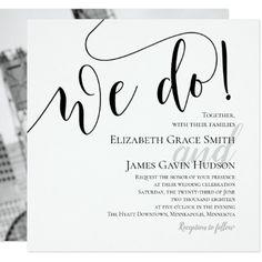 Modern We Do Photo Wedding Invitation - wedding invitations cards custom invitation card design marriage party