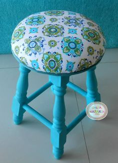 Funky Furniture, Refurbished Furniture, Colorful Furniture, Paint Furniture, Repurposed Furniture, Furniture Makeover, Diy Stool, Stool Covers, Upholstery
