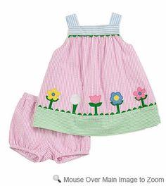 Florence Eiseman Girls Pink Stripe Seersucker Sun Dress with Flowers Toddler Sewing Patterns, Baby Dress Patterns, Baby Sewing, Little Dresses, Little Girl Dresses, Girls Knitted Dress, Sundress Pattern, Frocks For Girls, Applique Dress