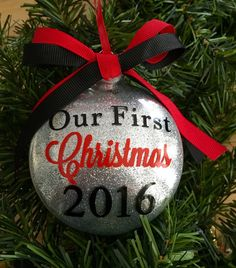 Christmas Ornaments Glitter Ornament Our First by TheCozyPup