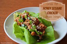 Crock Pot Honey Sesame Chicken Lettuce Wraps - 185 calories per serving! Asian Recipes, Real Food Recipes, Cooking Recipes, Healthy Recipes, Yummy Food, Tasty, Food Tips, Slow Cooker Recipes, Crockpot Recipes