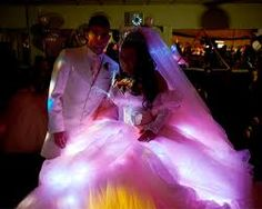 how to make a tacky wedding dress even tackier?....add lights!