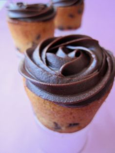 Chocolate Chip Muffins topped with Chocolate Icing.